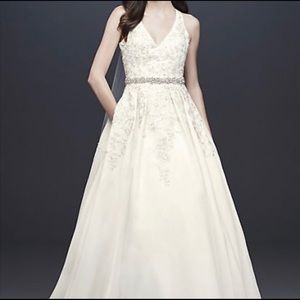 Illusion Back Organza Halter Wedding Dress